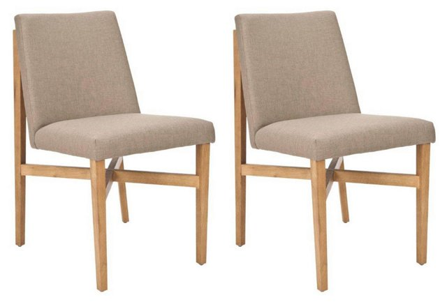 Taupe Duncan Side Chairs, Pair
