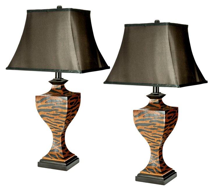 Sabrina Table Lamp Set. Black/Tan Zebra