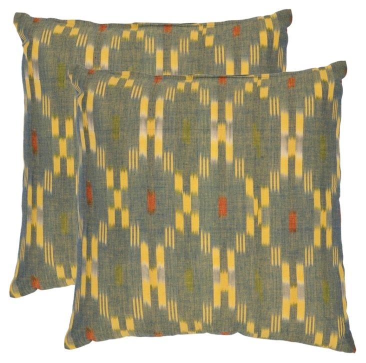 S/2 Lulu 22x22 Cotton Pillows, Green