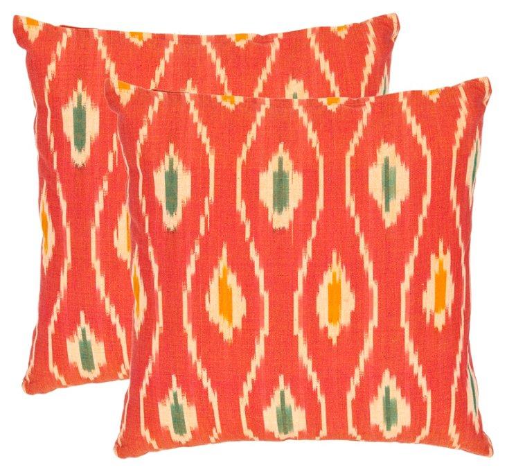 Set of 2 Mateo 22x22 Pillows, Coral