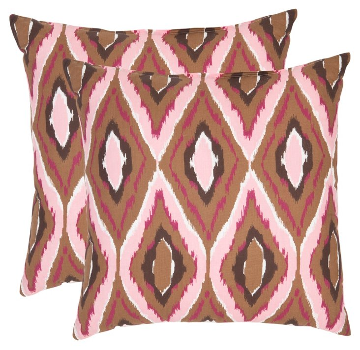 S/2 Tate 18x18 Cotton Pillows, Pink