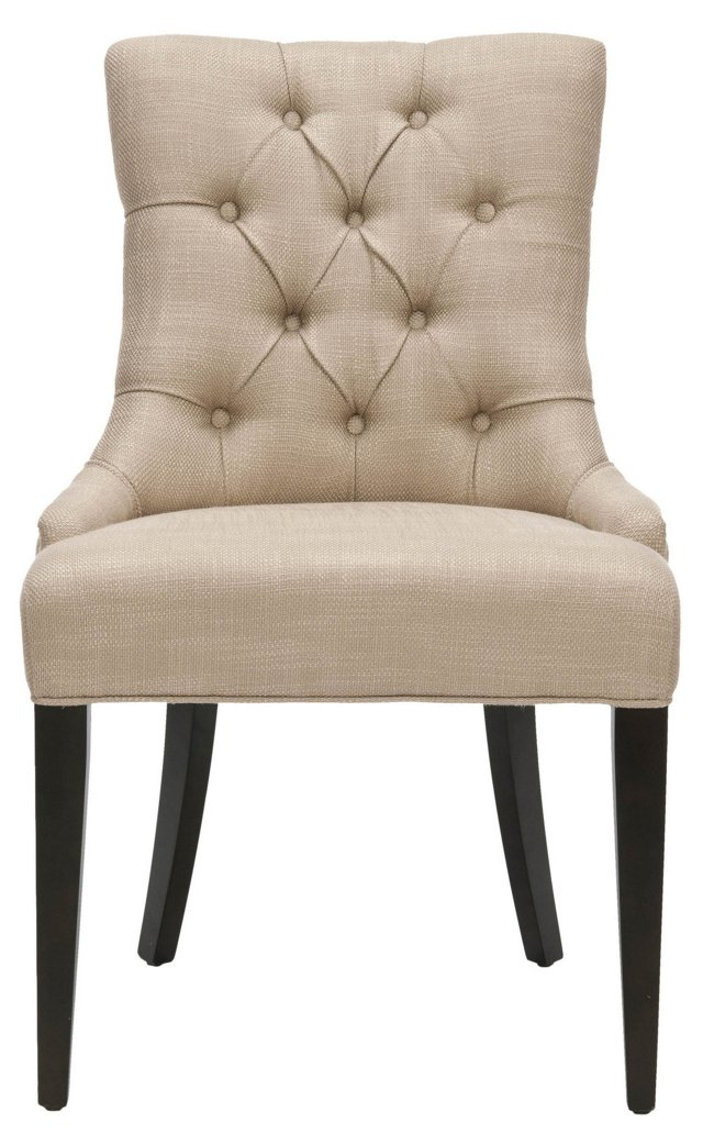 Tufted Linen Chair, Beige