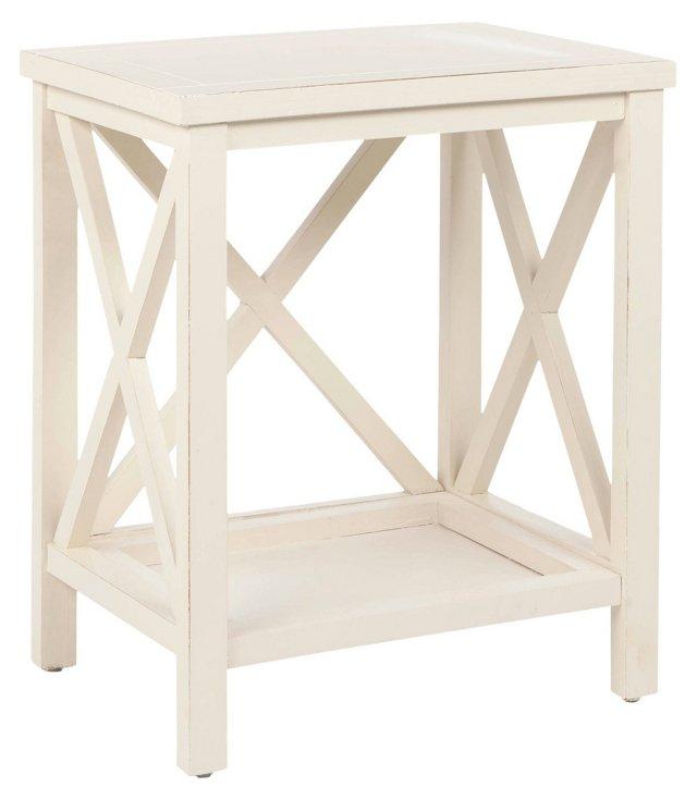 Lucas Cross-Back End Table, White