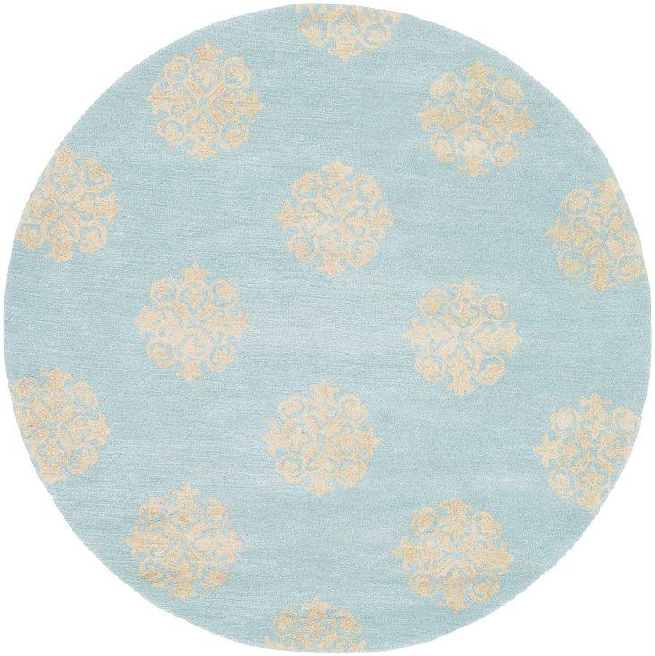Greenwich Rug, Turquoise/Cream