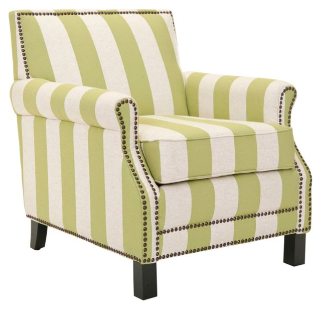 OKL Exclusive Club Chair, Green/White