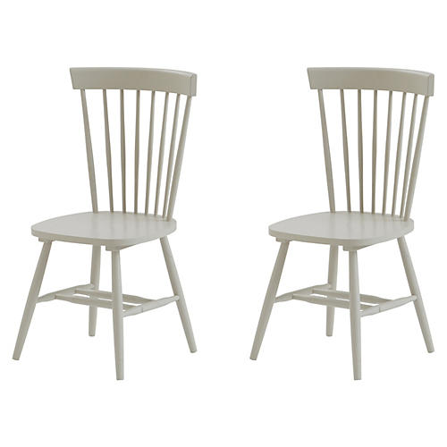 S/2 Abigail Dining Chairs, Gray