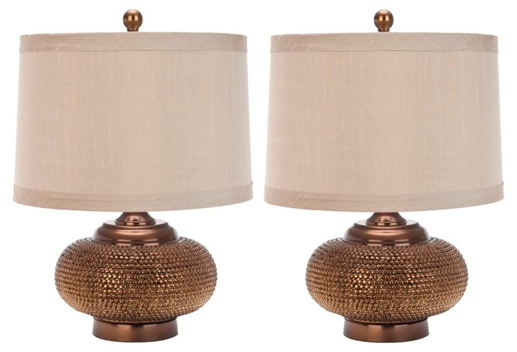 Jasmine Beaded Table Lamp Set, Bronze