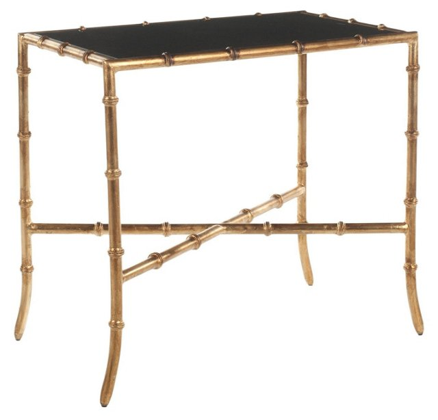 Chase Glass Accent Table, Gold/Black