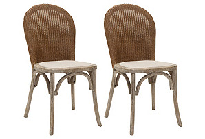 Beige Beau Side Chairs, Pair