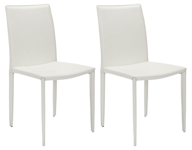 White Caldwell Chair, Pair
