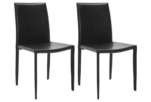 Black Leather Caldwell Side Chairs, Pair