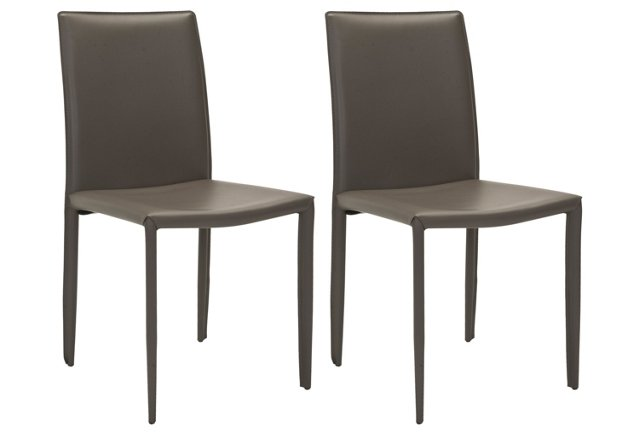 Gray Leather Caldwell Side Chairs, Pair