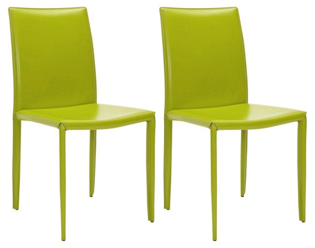 Lime Leather Caldwell Chairs, Pair