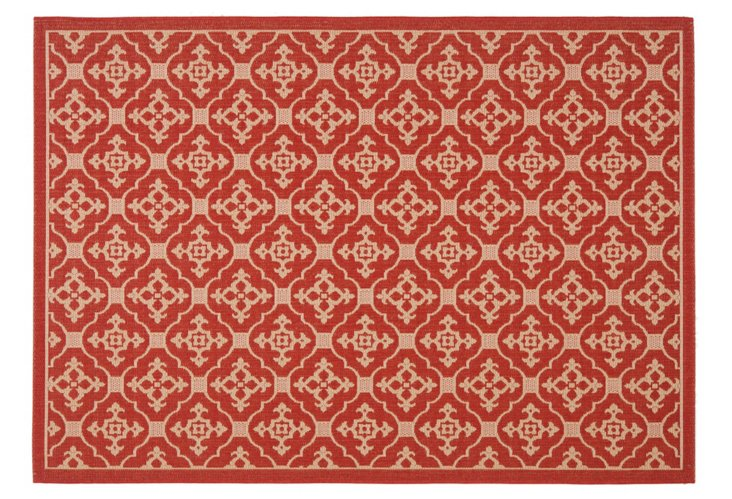Seth Outdoor Rug, Red/Cream