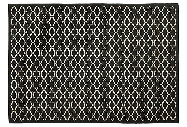 Greer Outdoor Rug, Black/Beige