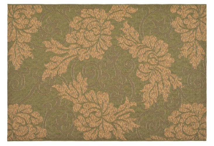Lila Outdoor Rug, Green/Natural