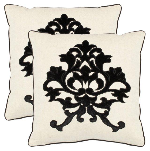 S/2 Otto 18x18 Pillows, Onyx