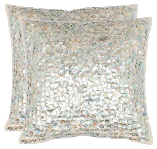 S/2 Dialia 18x18 Pillows, Silver