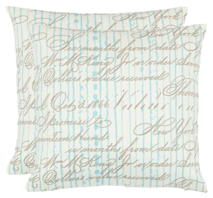 S/2 Ali 18x18 Pillows, Periwinkle
