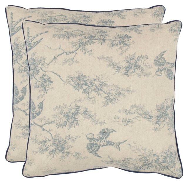 S/2 Leia 18x18 Cotton Pillows, Blue