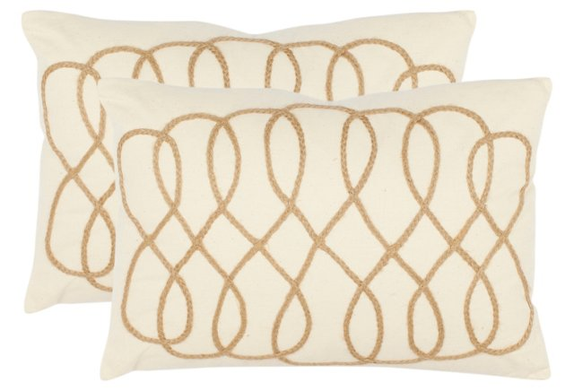 S/2 Suzy 13x19 Cotton Pillows, Ivory