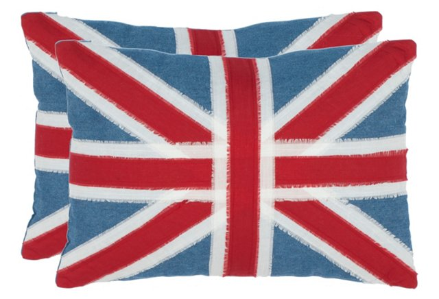 S/2 Charles 13x19 Pillows, Red/Blue