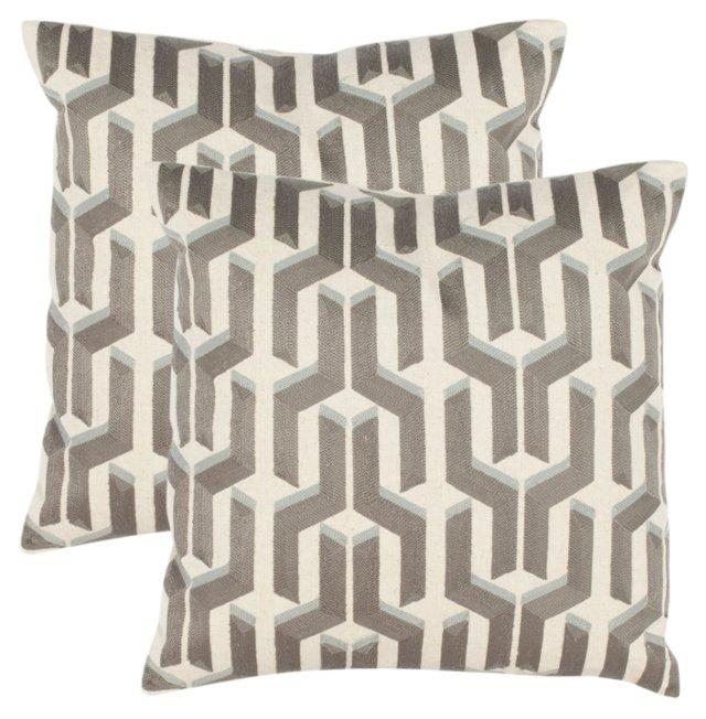 S/2 Texola 18x18 Pillows, Blue