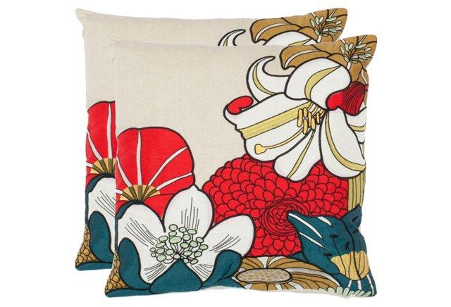 S/2 Shelley 18x18 Pillows, Crimson