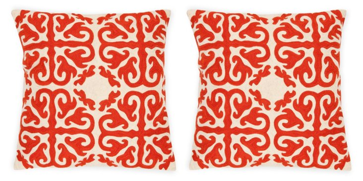 S/2 Cairo Cotton Pillows, Saffron