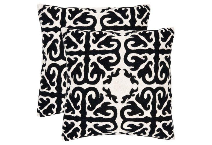 S/2 Cairo Pillows, Black
