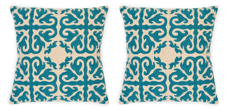 S/2 Moroccan Cotton Pillows, Teal