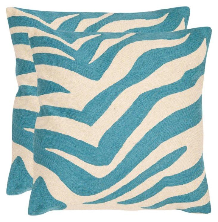 S/2 Zebra Cotton Pillows, Blue