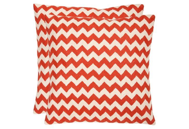 S/2 Chevron Cotton Pillows, Coral