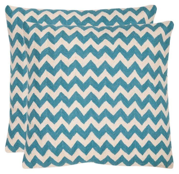 S/2 Tealea Cotton Pillows, Teal