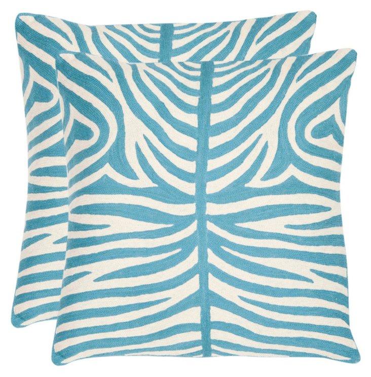 S/2 Sierra Cotton Pillows, Blue
