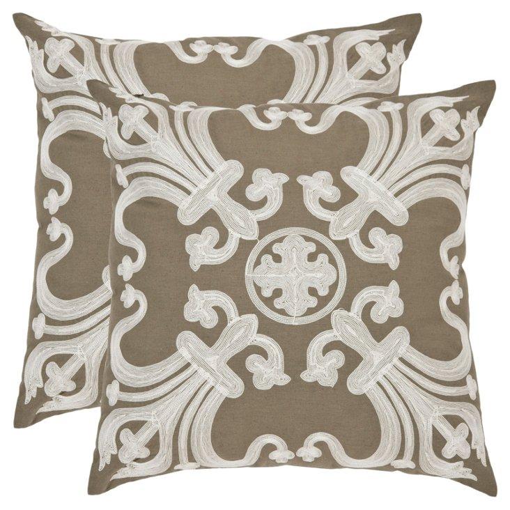 S/2 Malene 22x22 Linen Pillows, Mocha
