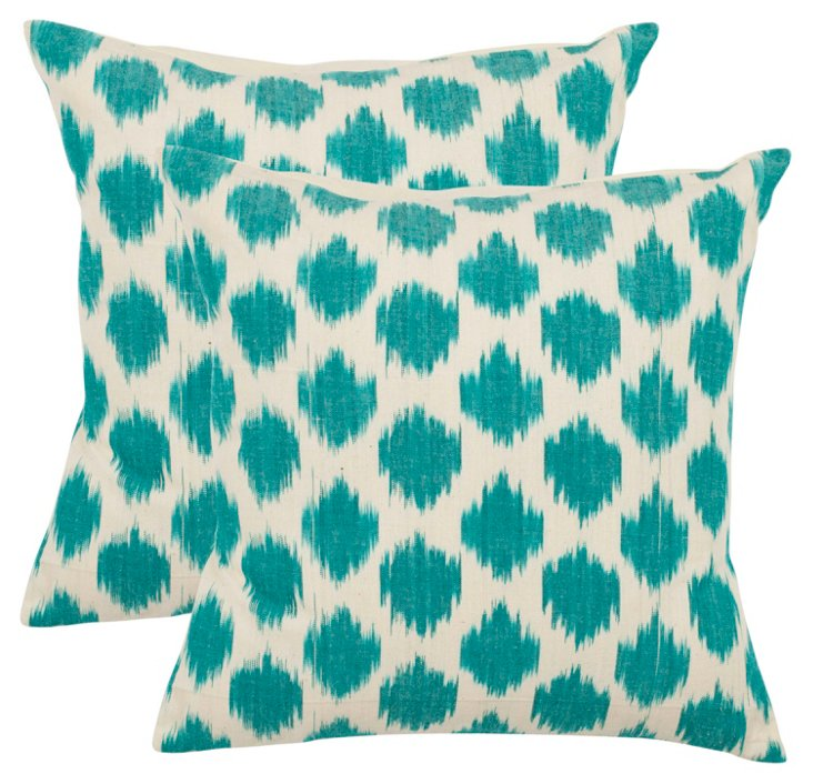 S/2 Ikat Dot 18x18 Cotton Pillows, Teal
