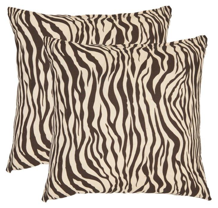 S/2 Zebra Pillows, Brown