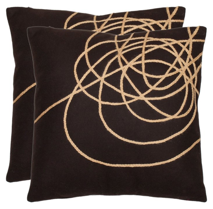 S/2 Coiled 18x18 Pillows, Brown