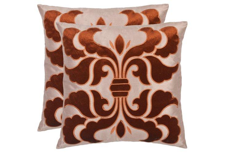 S/2 Esmerelda 18x18 Pillows, Brown