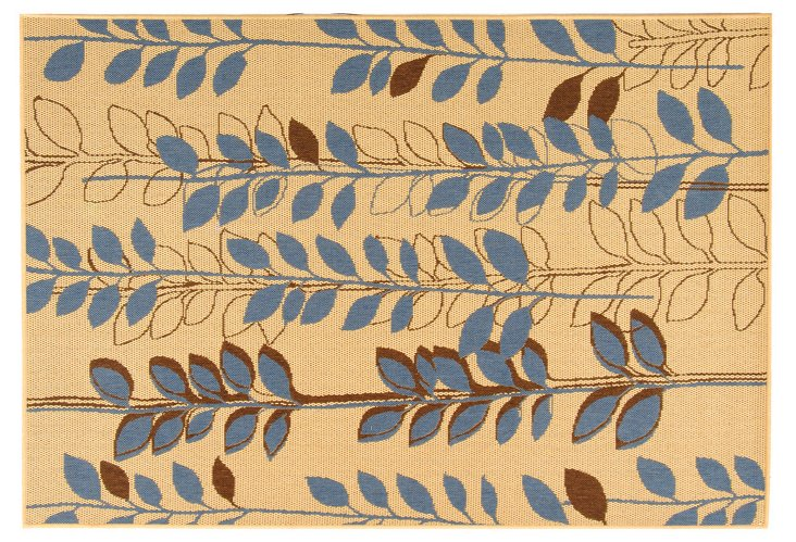 Isa Outdoor Rug, Wheat/Blue