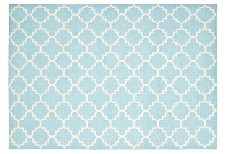 10'x14' Becky Dhurrie, Light Blue/Ivory