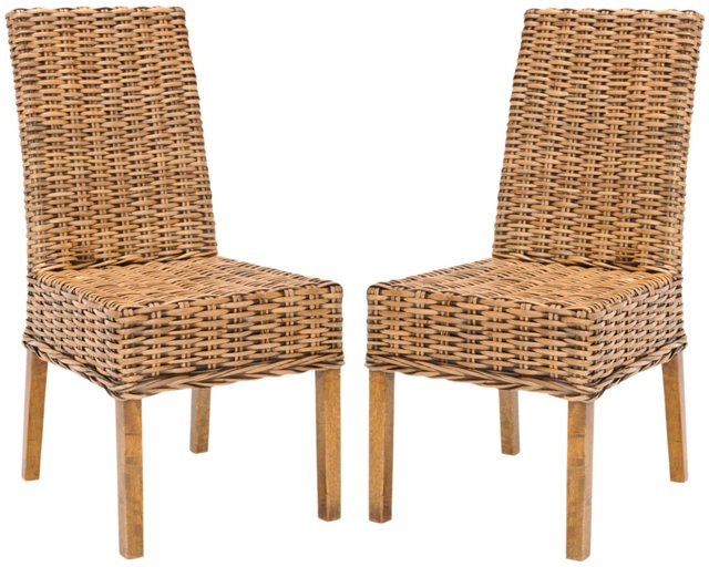 Almond Dayton Side Chairs, Pair