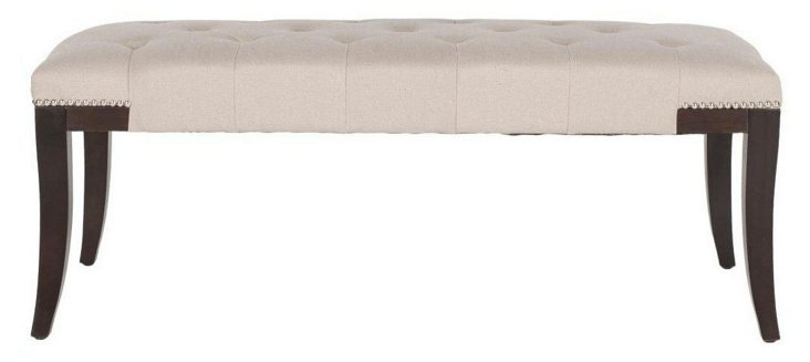 Lexington Tufted Nailhead Bench, Beige