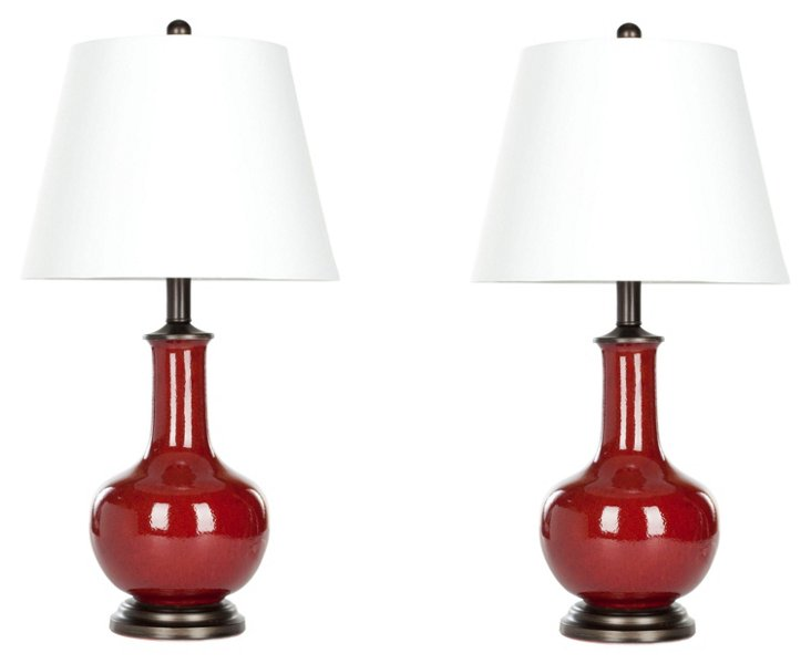 Sydney Table Lamp Set, Red