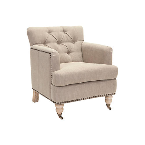 Margot Club Chair, Khaki Linen
