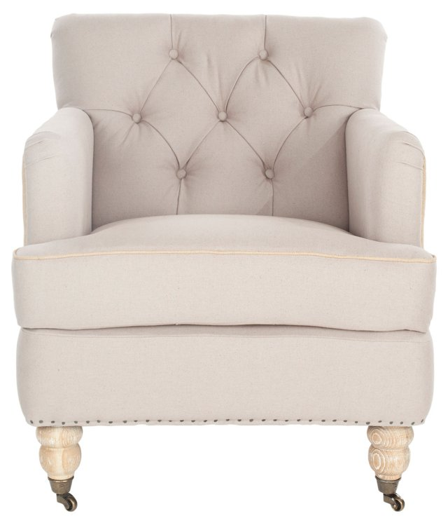 Margot Tufted 2-Tone Club Chair, Beige
