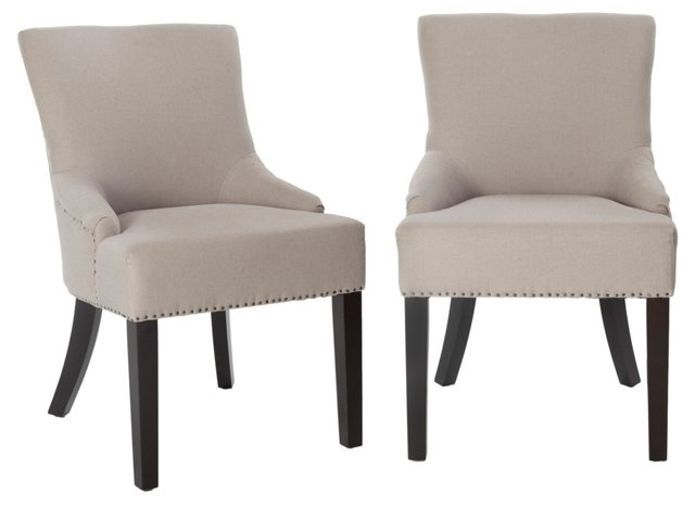 Taupe Locke Side Chairs, Pair
