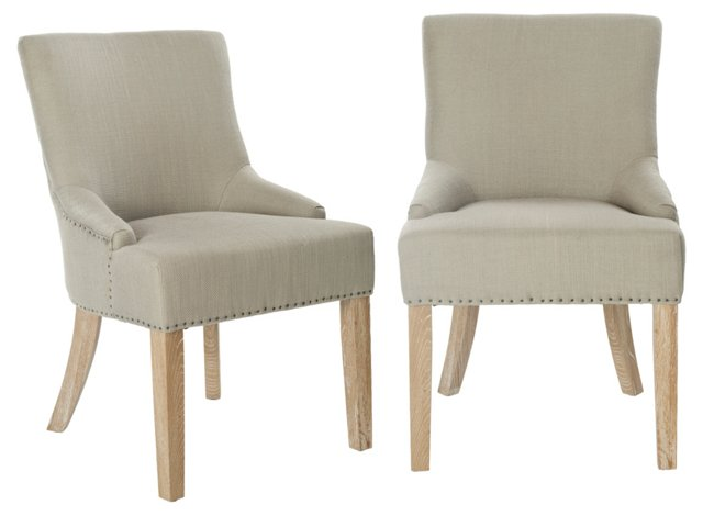 Jute Locke Side Chairs, Pair
