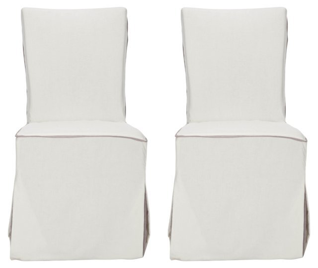 White Isabella Side Chairs, Pair